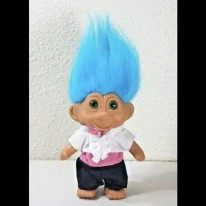 "1991 T.N.T. 5"" Blue Hair Green Eyes Tuxedo Troll"